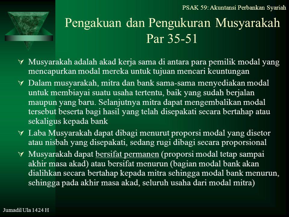 Pengakuan dan Pengukuran Musyarakah Par 35-51