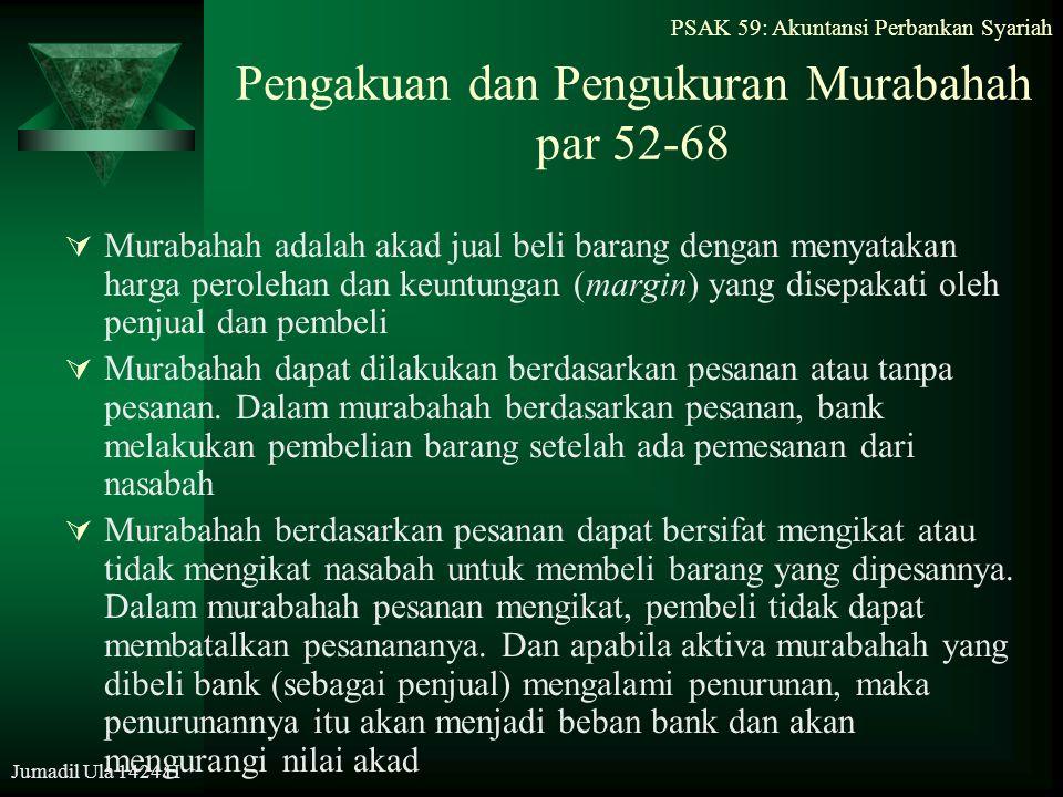 Pengakuan dan Pengukuran Murabahah par 52-68