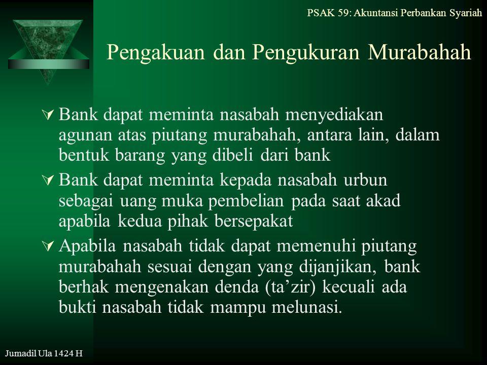 Pengakuan dan Pengukuran Murabahah