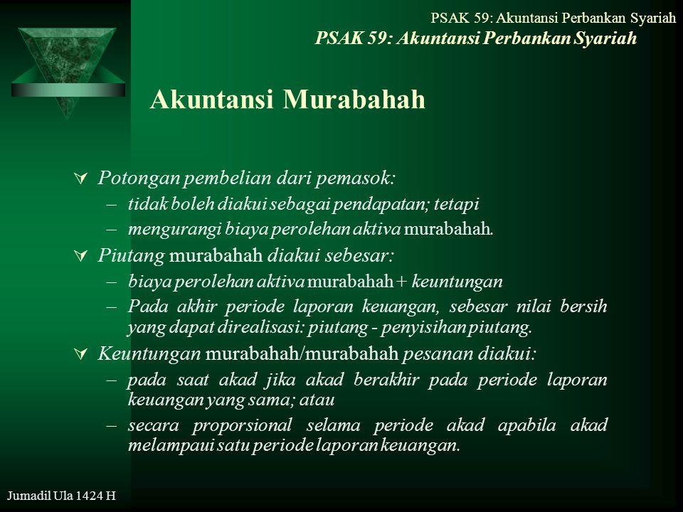 Akuntansi Murabahah Potongan pembelian dari pemasok: