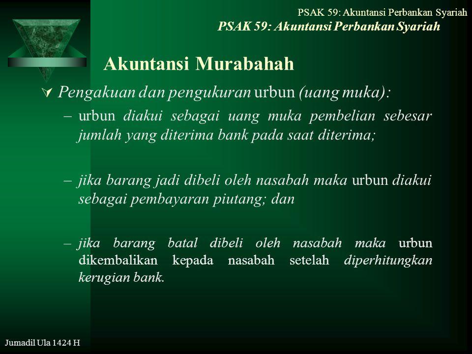 Akuntansi Murabahah Pengakuan dan pengukuran urbun (uang muka):