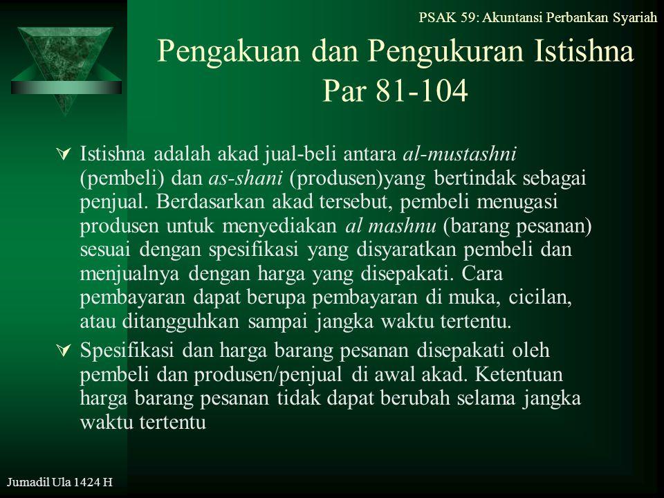 Pengakuan dan Pengukuran Istishna Par 81-104