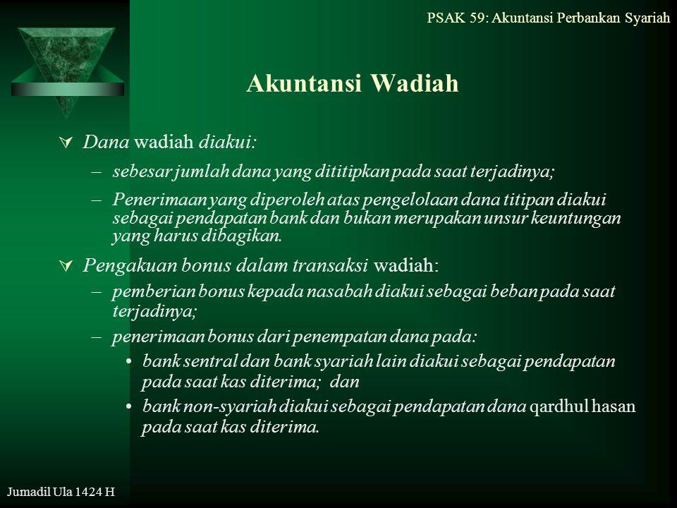 Akuntansi Wadiah Dana wadiah diakui: