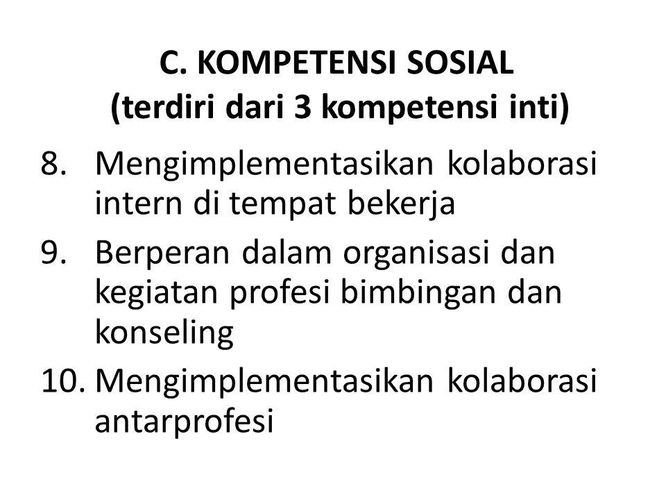 C. KOMPETENSI SOSIAL (terdiri dari 3 kompetensi inti)