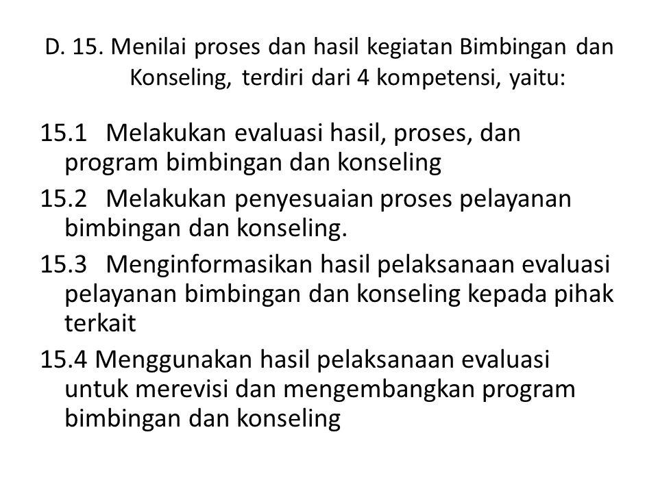 D. 15. Menilai proses dan hasil kegiatan Bimbingan dan Konseling, terdiri dari 4 kompetensi, yaitu: