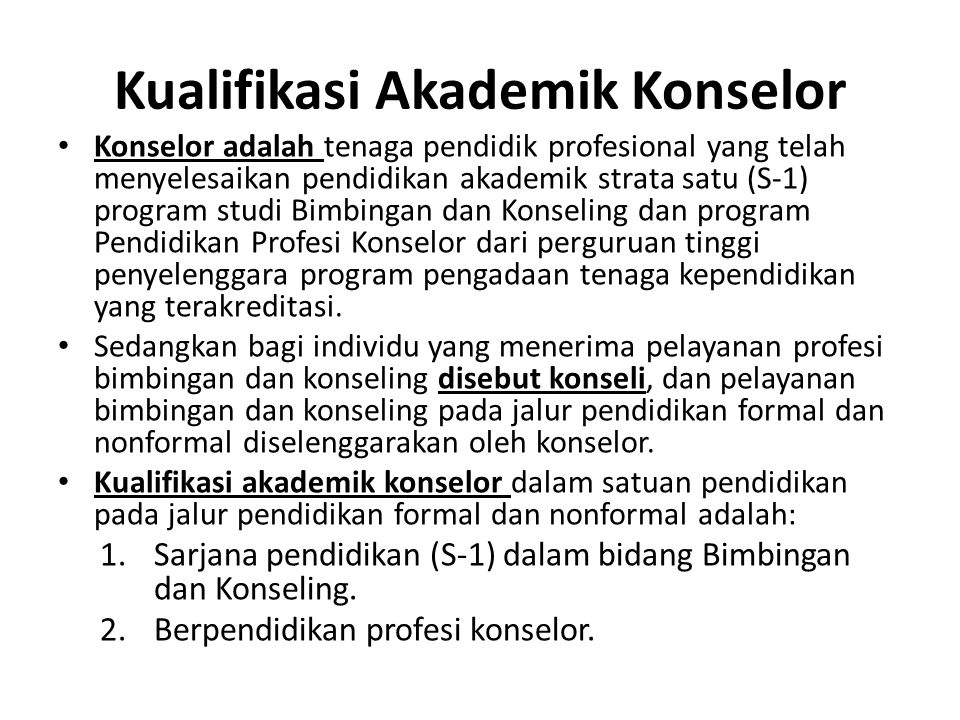 Kualifikasi Akademik Konselor