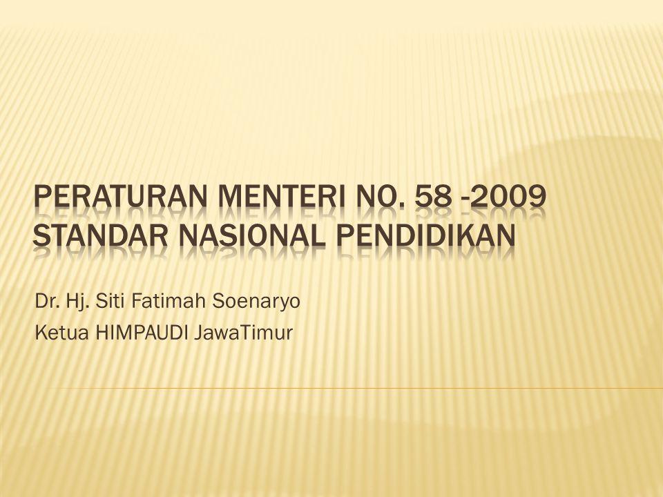 Peraturan Menteri no. 58 -2009 Standar Nasional pendidikan