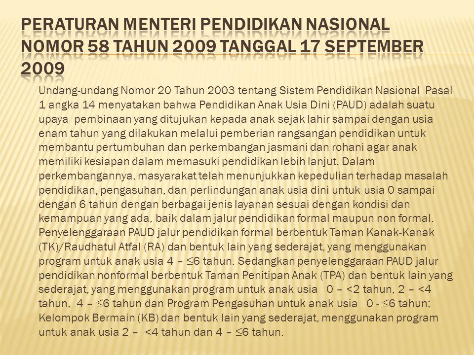PERATURAN MENTERI PENDIDIKAN NASIONAL NOMOR 58 TAHUN 2009 TANGGAL 17 SEPTEMBER 2009