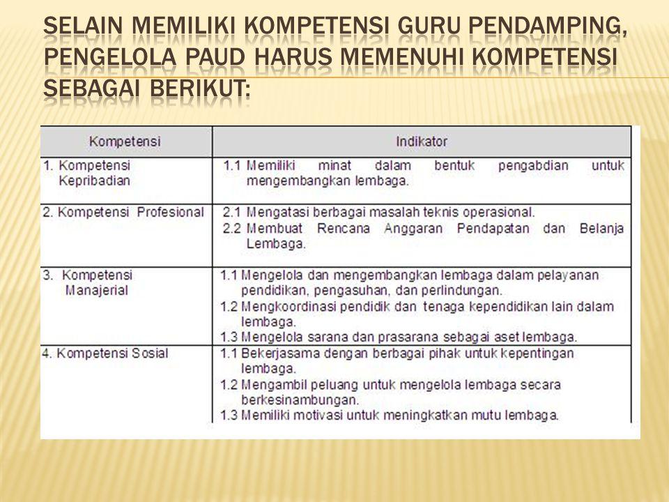 Selain memiliki kompetensi guru pendamping, pengelola PAUD harus memenuhi kompetensi sebagai berikut:
