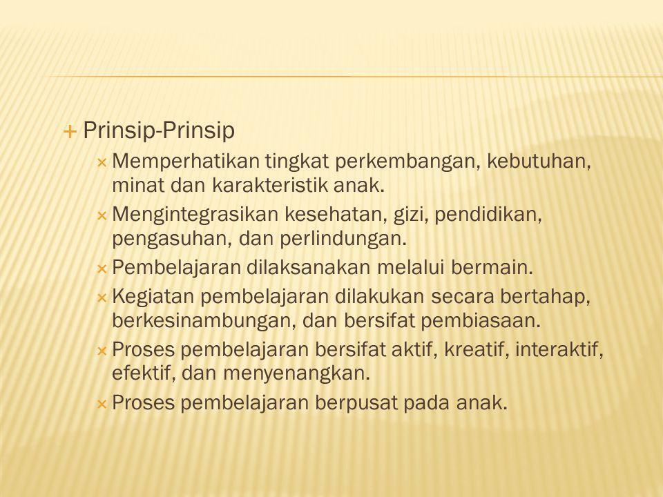 Prinsip-Prinsip Memperhatikan tingkat perkembangan, kebutuhan, minat dan karakteristik anak.
