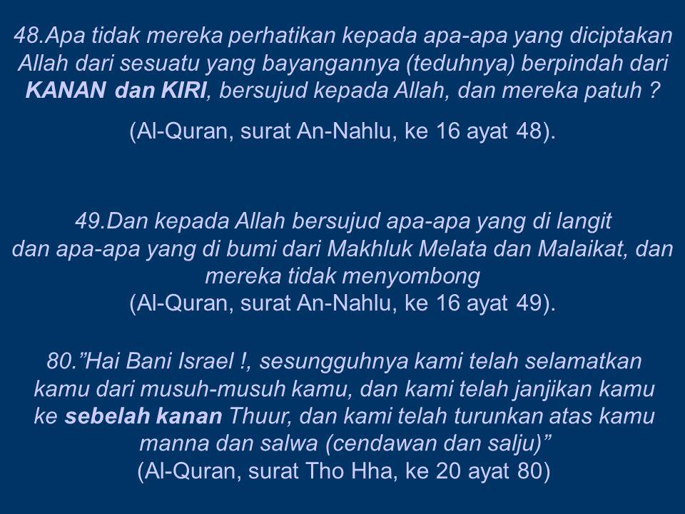 (Al-Quran, surat An-Nahlu, ke 16 ayat 48).
