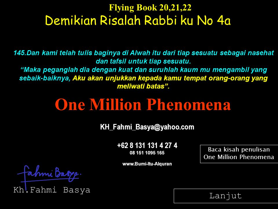 Baca kisah penulisan One Million Phenomena