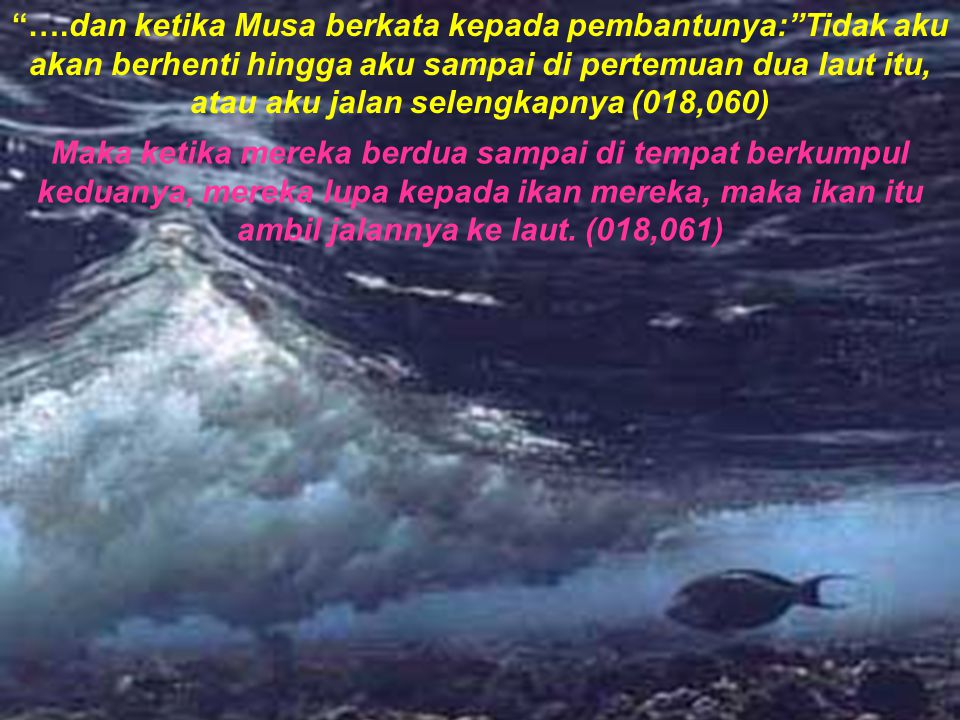 ….dan ketika Musa berkata kepada pembantunya: Tidak aku akan berhenti hingga aku sampai di pertemuan dua laut itu, atau aku jalan selengkapnya (018,060)