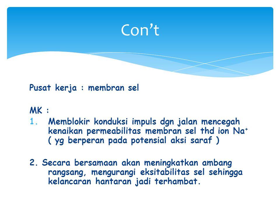 Con't Pusat kerja : membran sel MK :