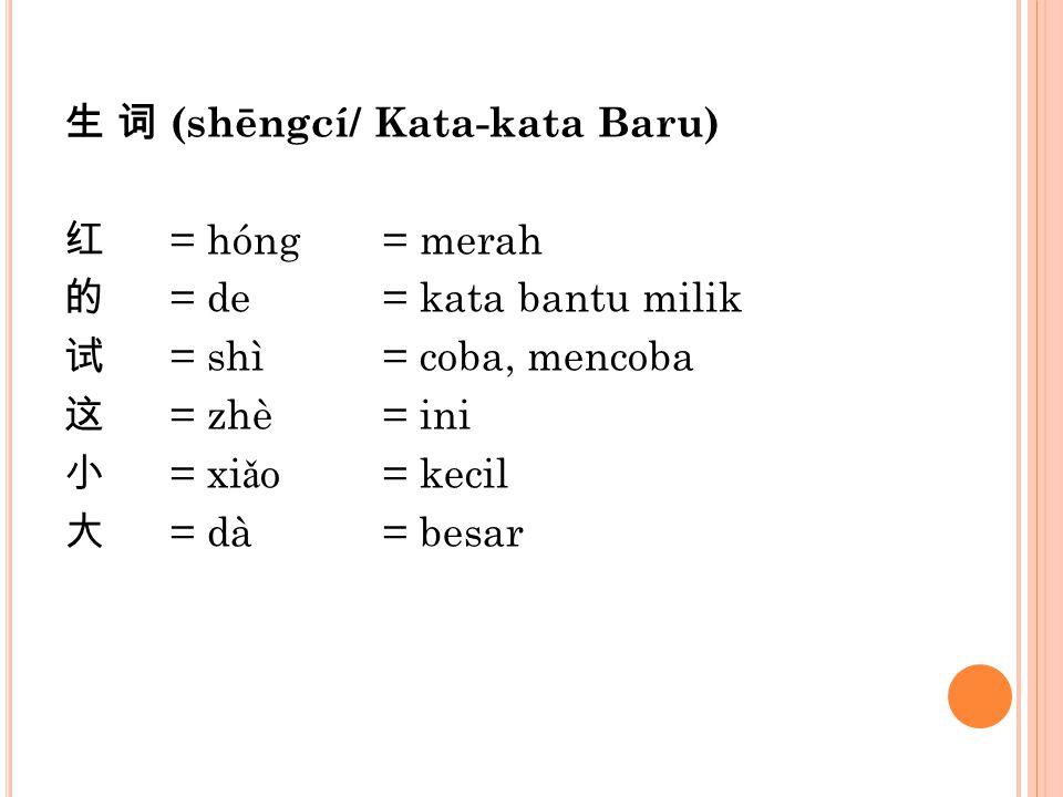 生 词 (shēngcí/ Kata-kata Baru) 红 = hóng = merah 的 = de = kata bantu milik 试 = shì = coba, mencoba 这 = zhè = ini 小 = xiǎo = kecil 大 = dà = besar