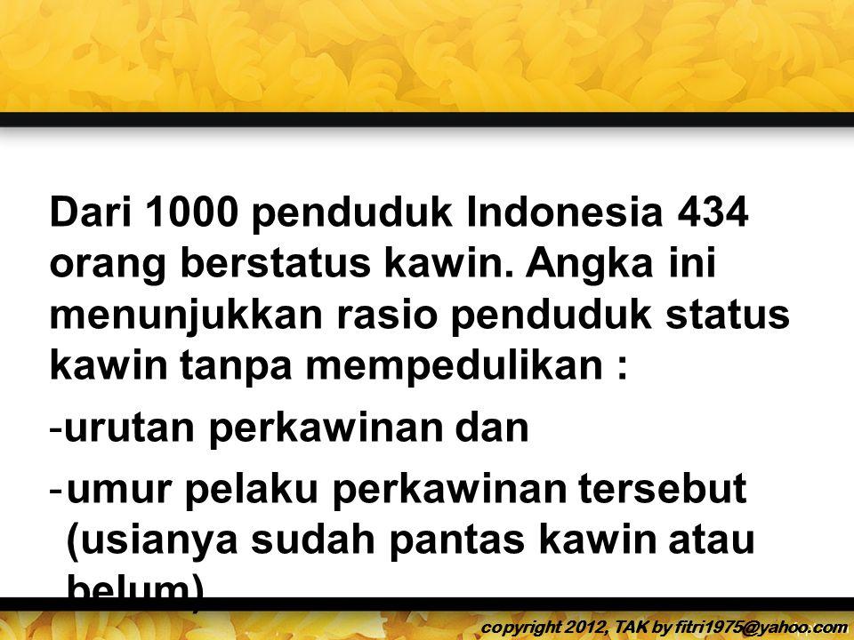 Dari 1000 penduduk Indonesia 434 orang berstatus kawin