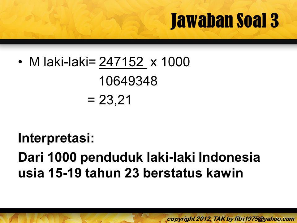 Jawaban Soal 3 M laki-laki= 247152 x 1000 10649348 = 23,21