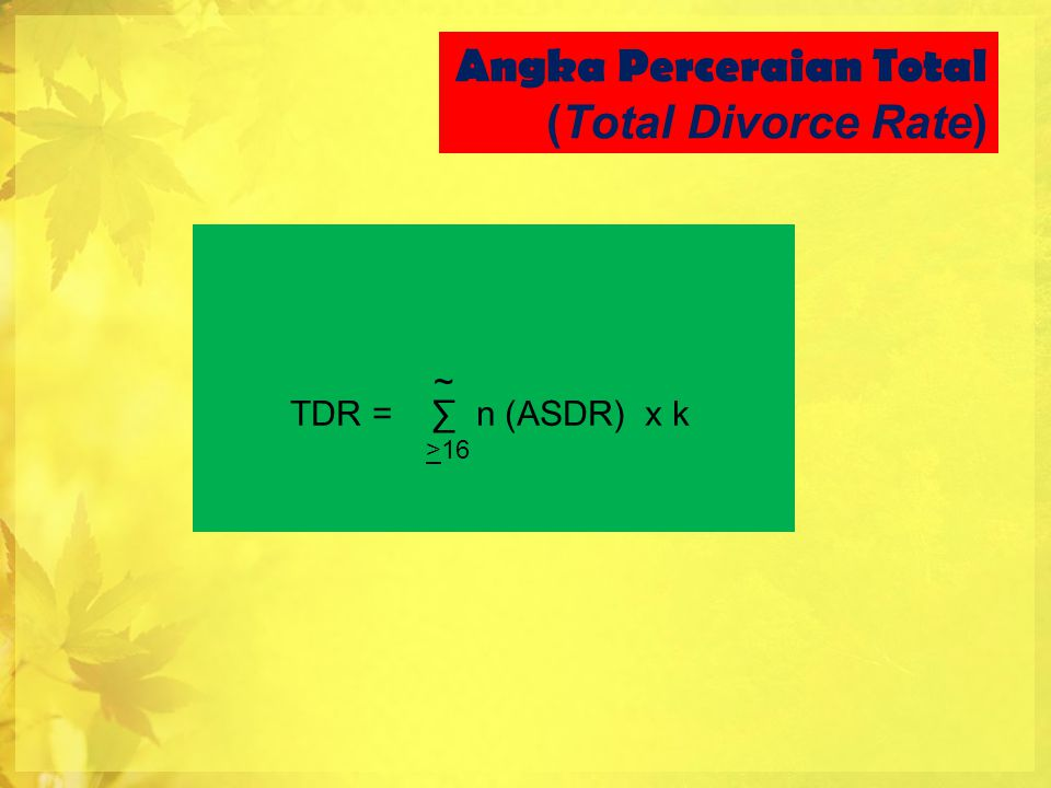 Angka Perceraian Total (Total Divorce Rate)