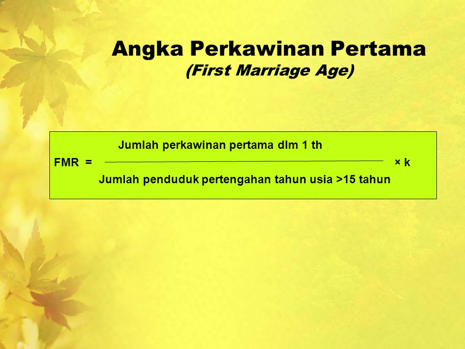 Angka Perkawinan Pertama (First Marriage Age)