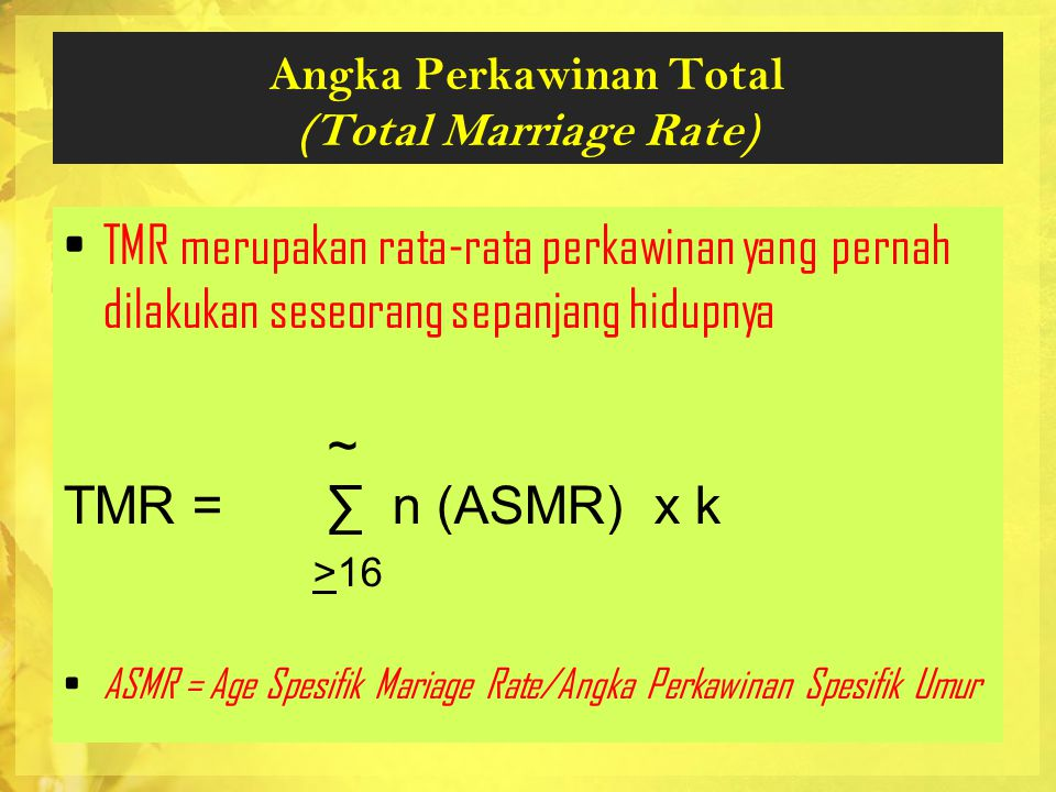 Angka Perkawinan Total (Total Marriage Rate)