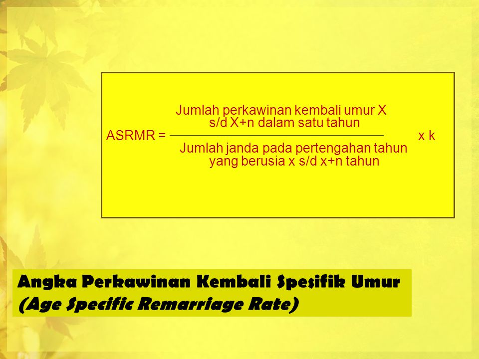 Angka Perkawinan Kembali Spesifik Umur (Age Specific Remarriage Rate)