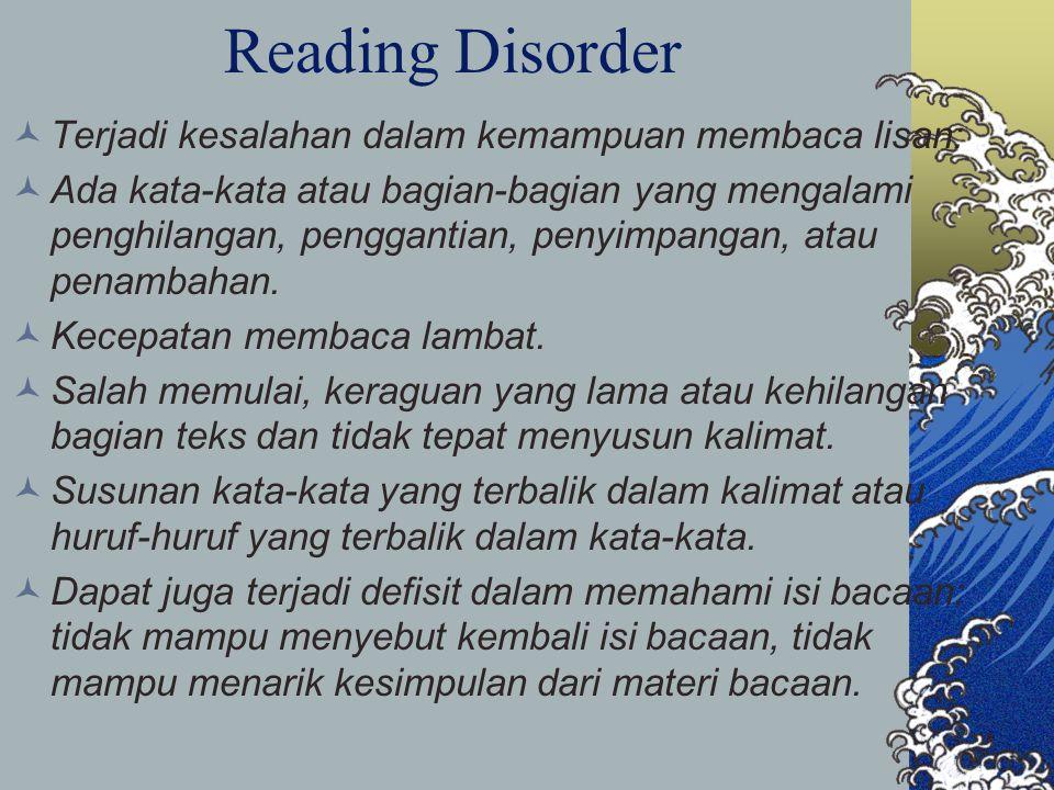 Reading Disorder Terjadi kesalahan dalam kemampuan membaca lisan: