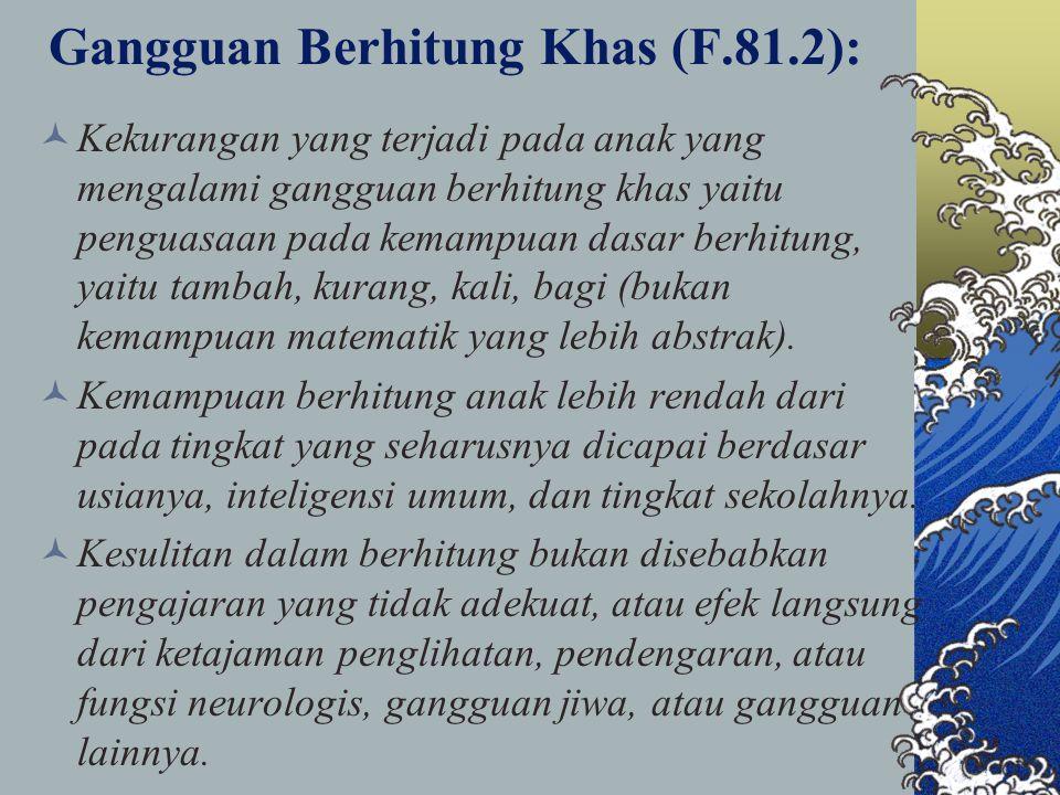Gangguan Berhitung Khas (F.81.2):