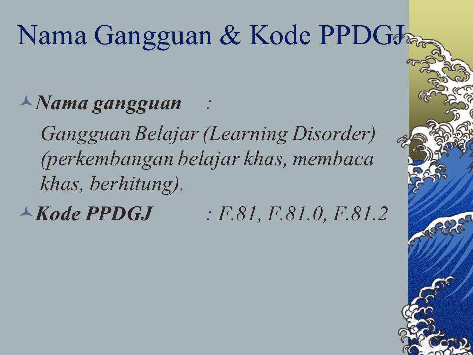 Nama Gangguan & Kode PPDGJ