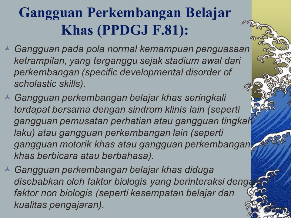 Gangguan Perkembangan Belajar Khas (PPDGJ F.81):