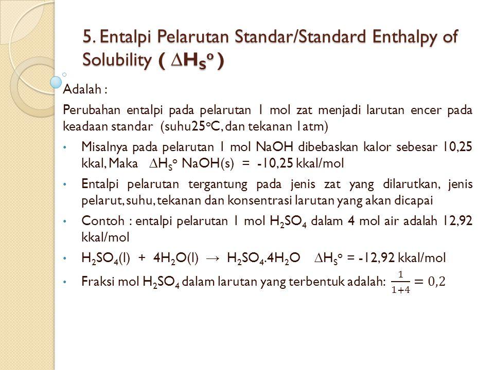 5. Entalpi Pelarutan Standar/Standard Enthalpy of Solubility ( ∆HSo )