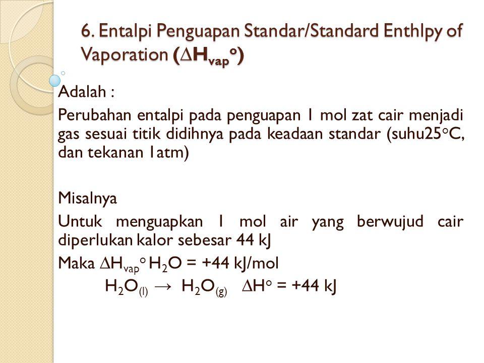 6. Entalpi Penguapan Standar/Standard Enthlpy of Vaporation (∆Hvapo)