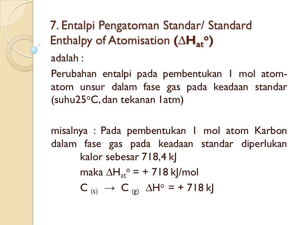 7. Entalpi Pengatoman Standar/ Standard Enthalpy of Atomisation (∆Hato)
