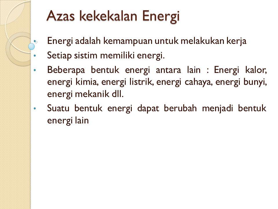 Azas kekekalan Energi Energi adalah kemampuan untuk melakukan kerja