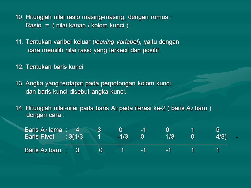 10. Hitunglah nilai rasio masing-masing, dengan rumus :