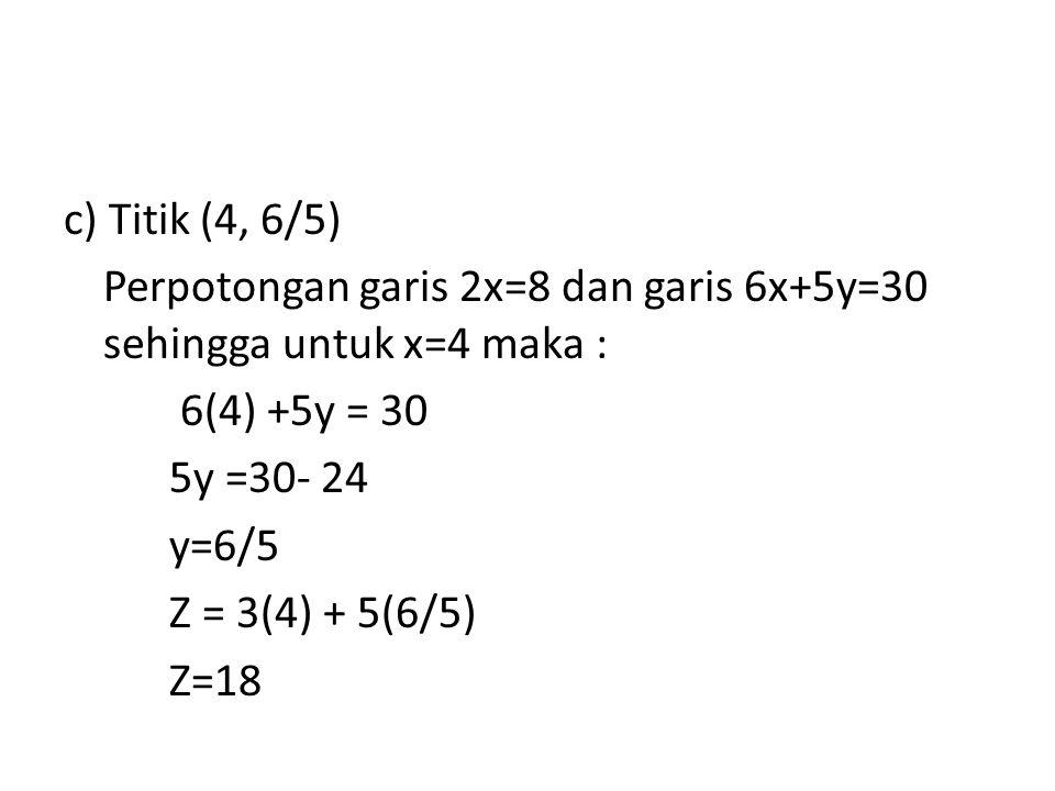 c) Titik (4, 6/5) Perpotongan garis 2x=8 dan garis 6x+5y=30 sehingga untuk x=4 maka : 6(4) +5y = 30 5y =30- 24 y=6/5 Z = 3(4) + 5(6/5) Z=18