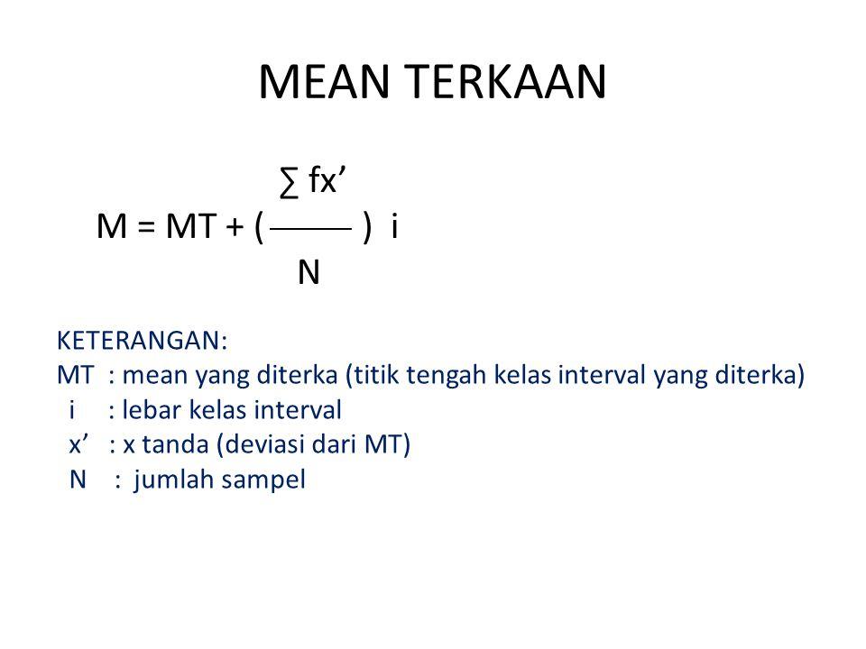 MEAN TERKAAN ∑ fx' M = MT + ( ) i N KETERANGAN: