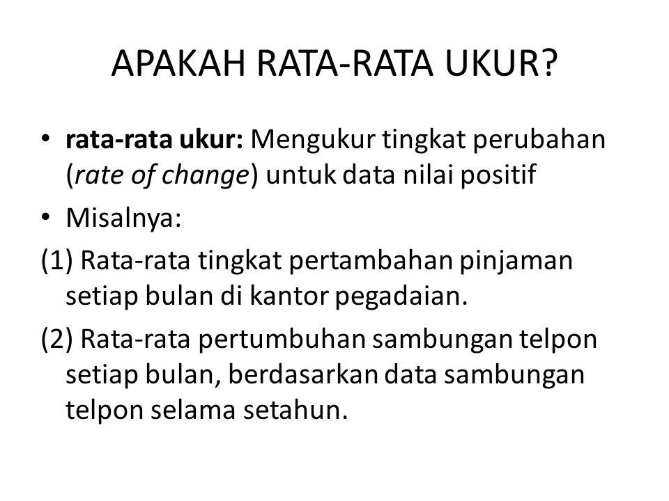 APAKAH RATA-RATA UKUR rata-rata ukur: Mengukur tingkat perubahan (rate of change) untuk data nilai positif.