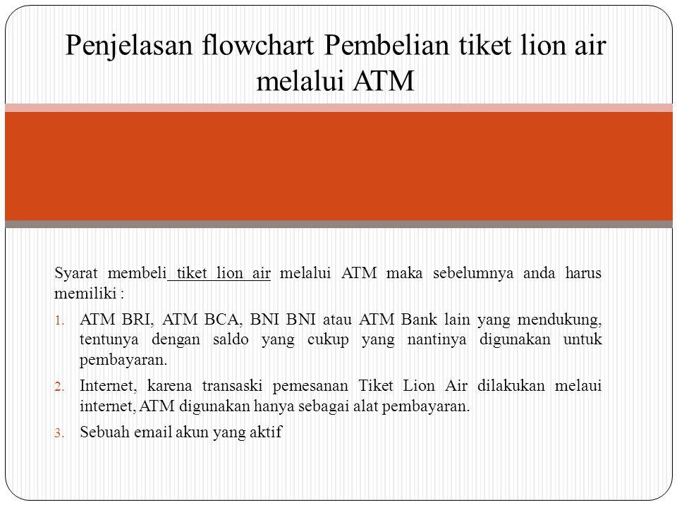 Penjelasan flowchart Pembelian tiket lion air melalui ATM