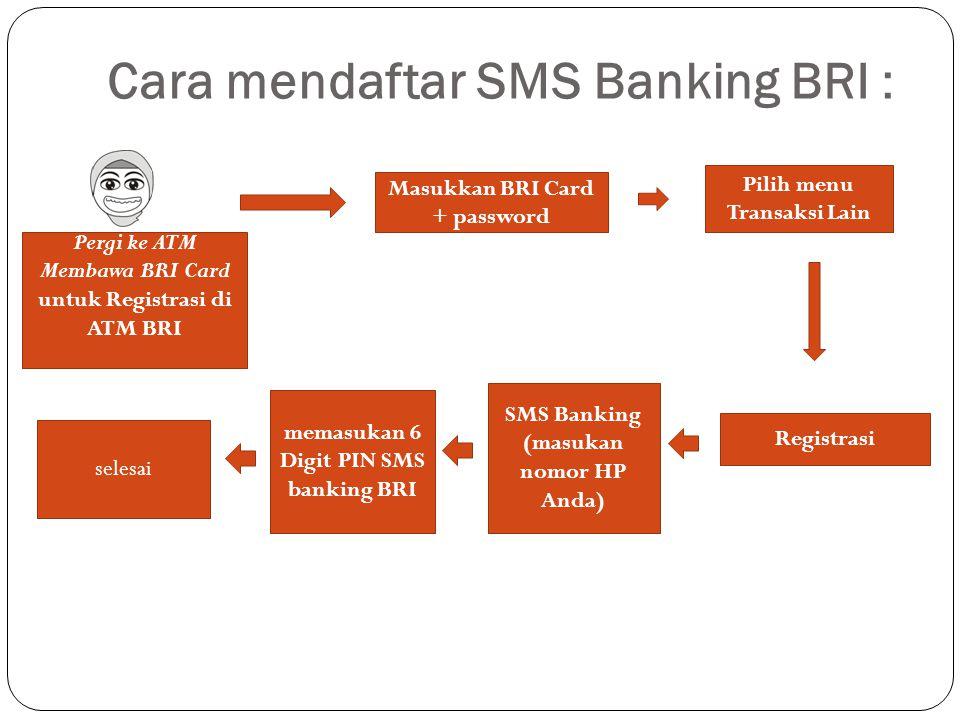 Cara mendaftar SMS Banking BRI :