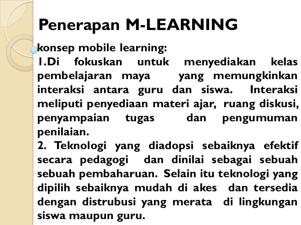 Penerapan M-LEARNING konsep mobile learning: