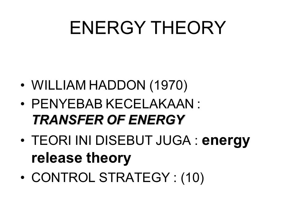 ENERGY THEORY WILLIAM HADDON (1970)