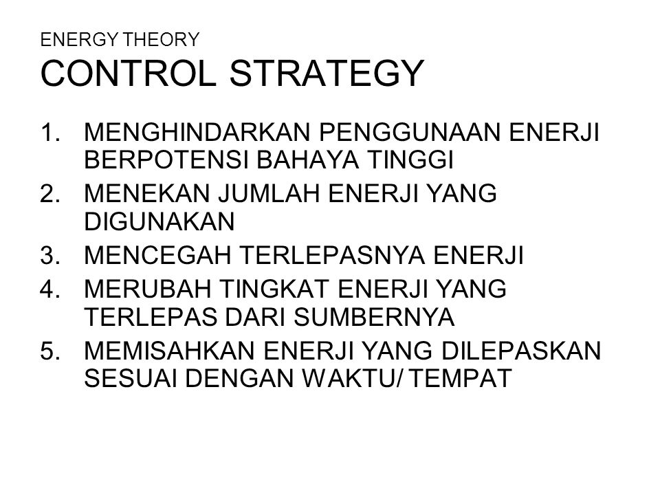 ENERGY THEORY CONTROL STRATEGY
