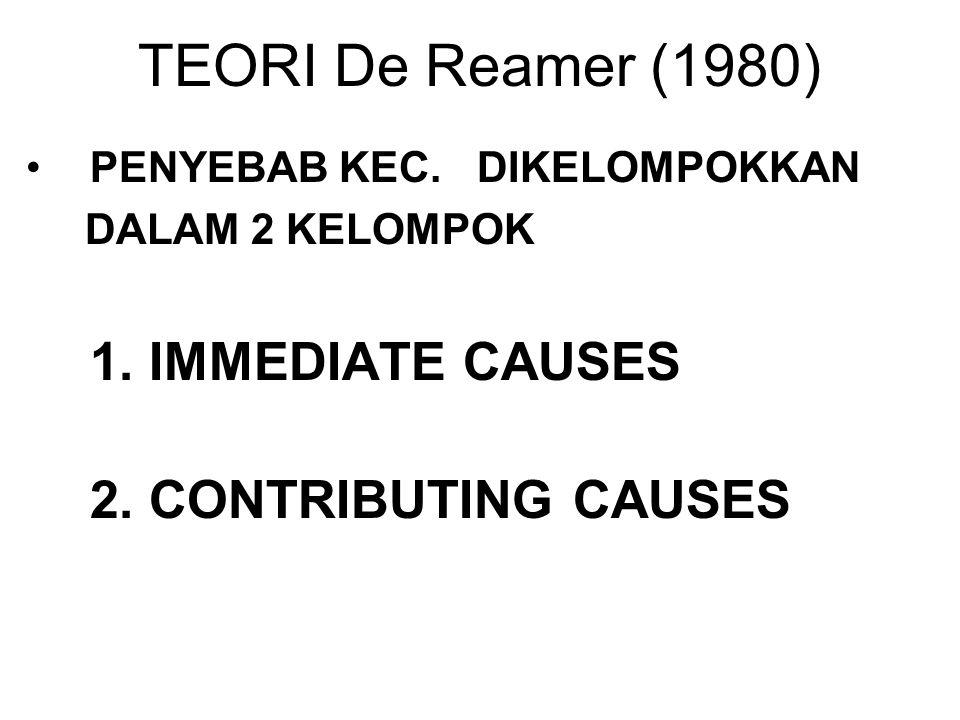 TEORI De Reamer (1980) PENYEBAB KEC. DIKELOMPOKKAN DALAM 2 KELOMPOK