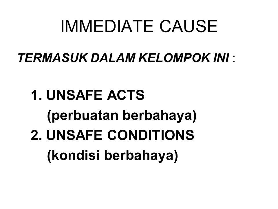 IMMEDIATE CAUSE 1. UNSAFE ACTS (perbuatan berbahaya)