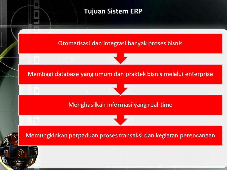 Tujuan Sistem ERP Otomatisasi dan integrasi banyak proses bisnis