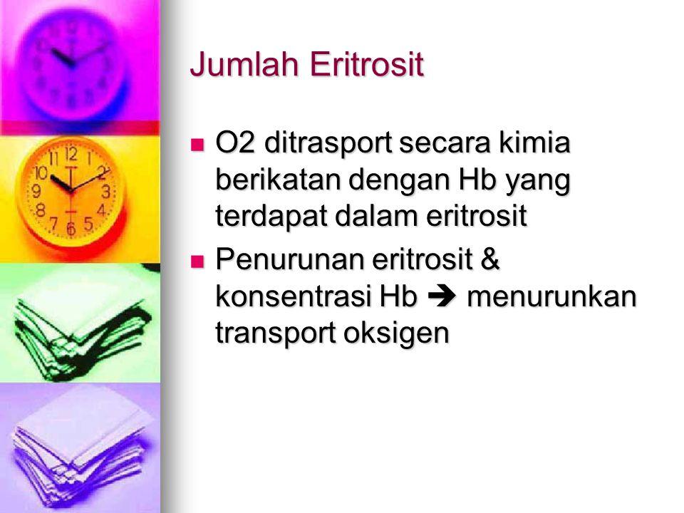 Jumlah Eritrosit O2 ditrasport secara kimia berikatan dengan Hb yang terdapat dalam eritrosit.