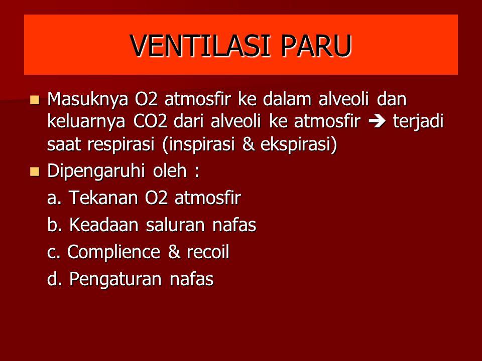 VENTILASI PARU Masuknya O2 atmosfir ke dalam alveoli dan keluarnya CO2 dari alveoli ke atmosfir  terjadi saat respirasi (inspirasi & ekspirasi)