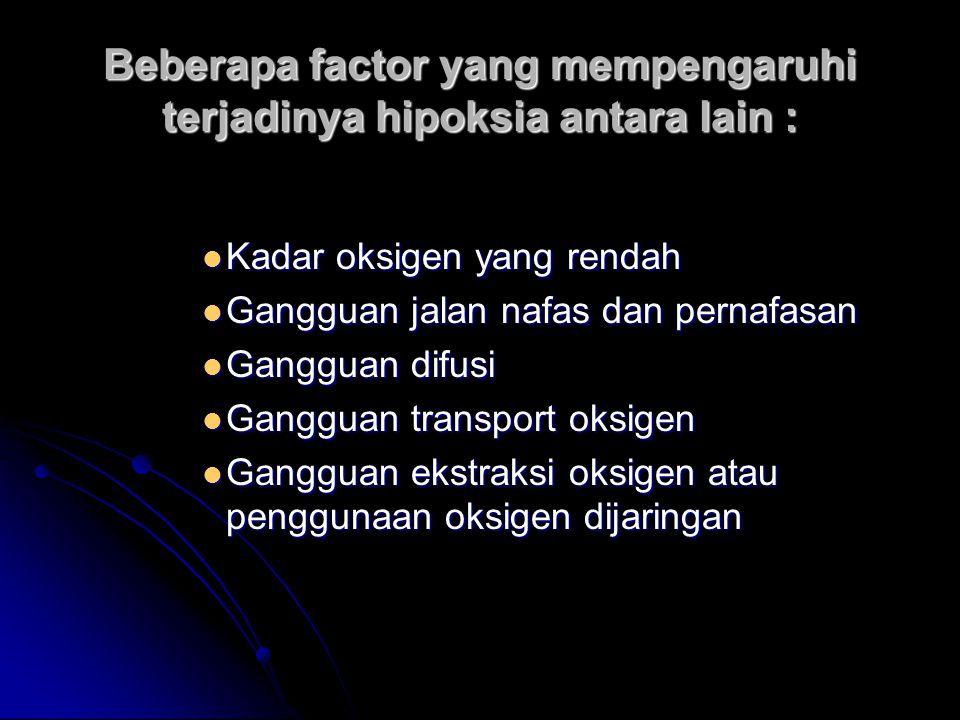 Beberapa factor yang mempengaruhi terjadinya hipoksia antara lain :