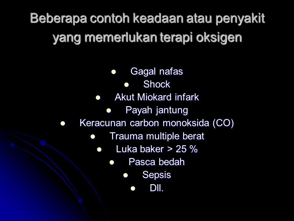 Beberapa contoh keadaan atau penyakit yang memerlukan terapi oksigen