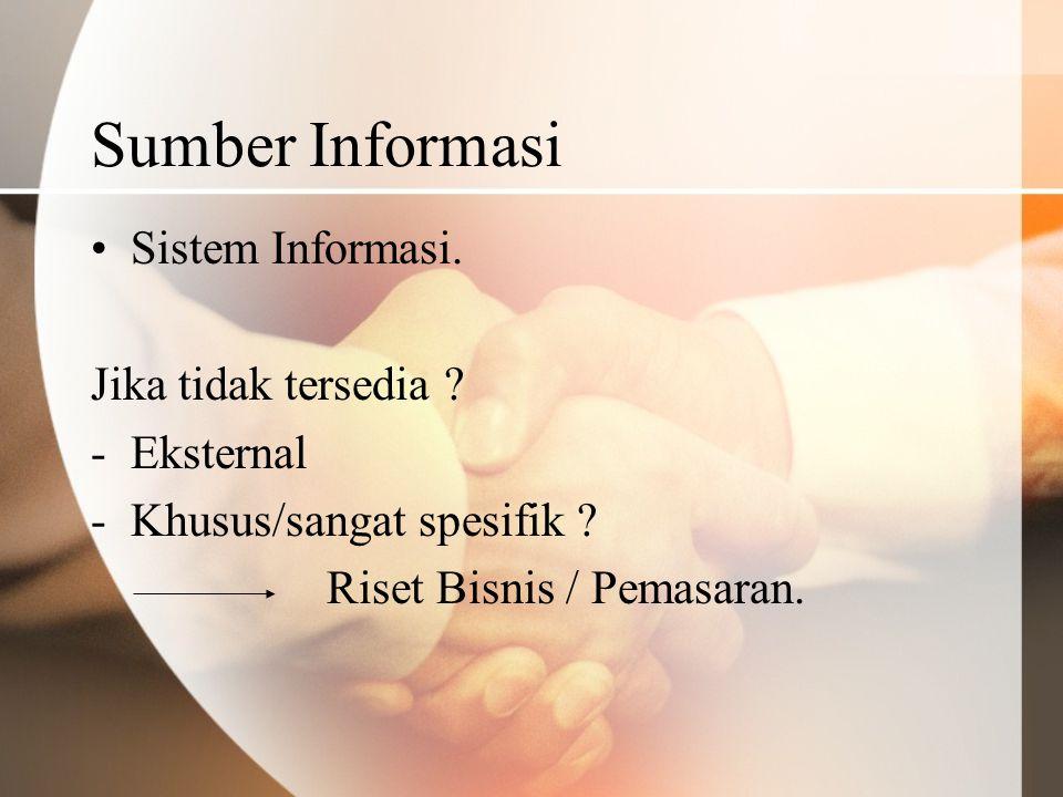 Sumber Informasi Sistem Informasi. Jika tidak tersedia Eksternal